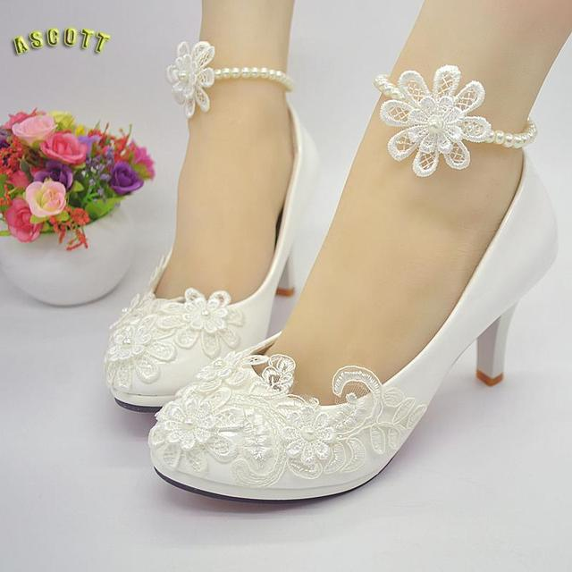 2017 New White Lace, Pearl Wedding Shoes, Handmade Bridal Shoes ...