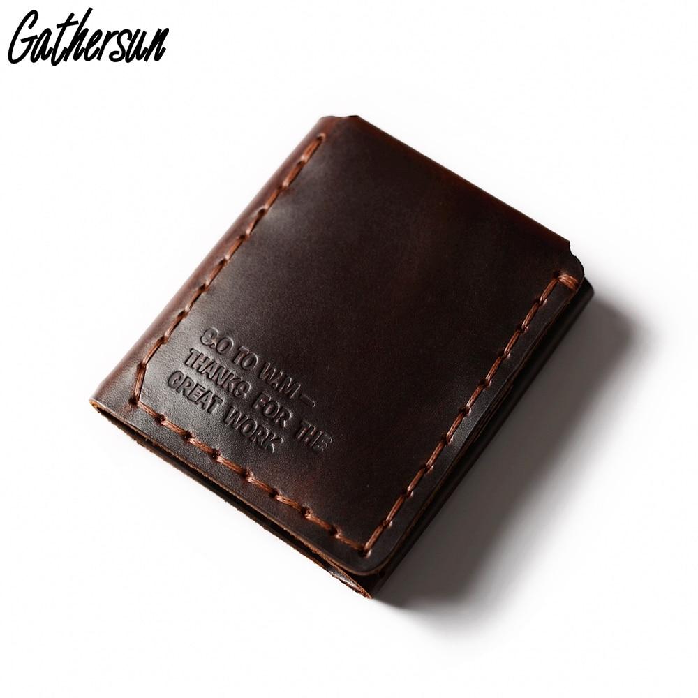 Gathersun גברים ארנק עור ביגר Walter Mitty ארנק עבודת יד אישית ארנק עור אמיתי עם מטבע כיס