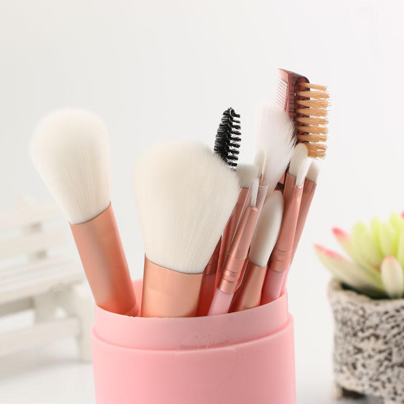 MECOLOR pink 12pcs Makeup Brushes Set kits Professnial Beauty Fondation blush eyeshadow lip eyebrow powder brush tools in Eye Shadow Applicator from Beauty Health