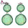 "Hot Sell ! Elegant & Wholesale & Retail For Women Jewelry Green Fire Opal & Green Quartz Silver Stud Earrings 1 1/8"" OH3639"