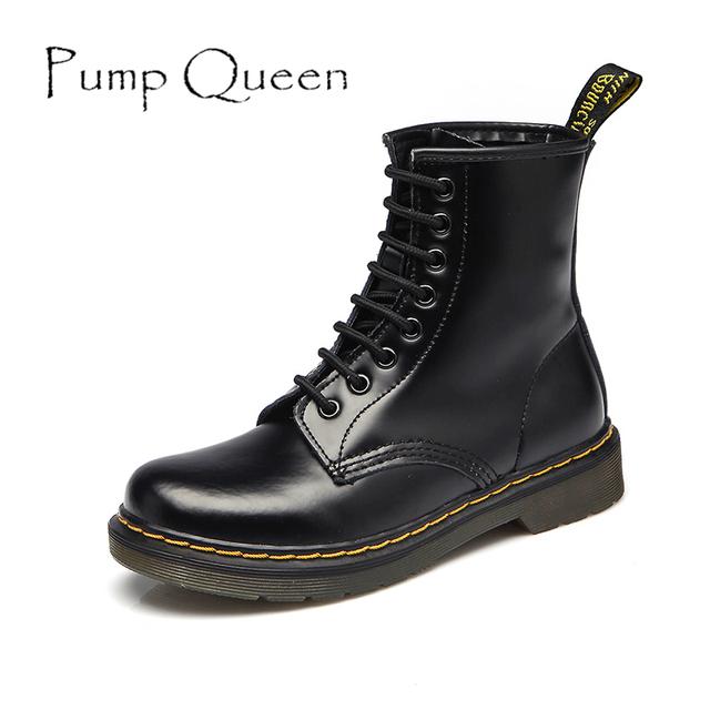 Botas de Tornozelo mulheres 2017 Primavera Outono Genuíno Laço de Couro Até Terra sapatos de Punk Cores Preto Branco Plus Size 42 44 zapatos mujer