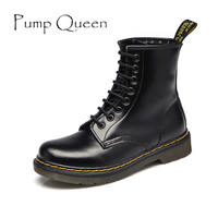 Classical Women Motorcycle Boots Genuine Leather New 2015 Autumn Winter Female Lace Up Shoes Woman Thick