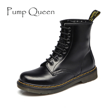 Women Boots Shoes Woman Ankle Boots 2017 Winter Genuine Leather Lace Up Land Shoe Punk White Black Plus Size 42 44 zapatos mujer