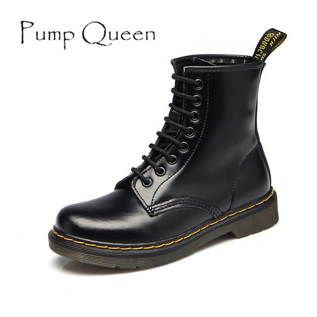 b9bbf9298725 Women Boots Shoes Woman High Ankle Boots Punk 2018 Autumn Winter Cow  Leather Shoe Lace Up