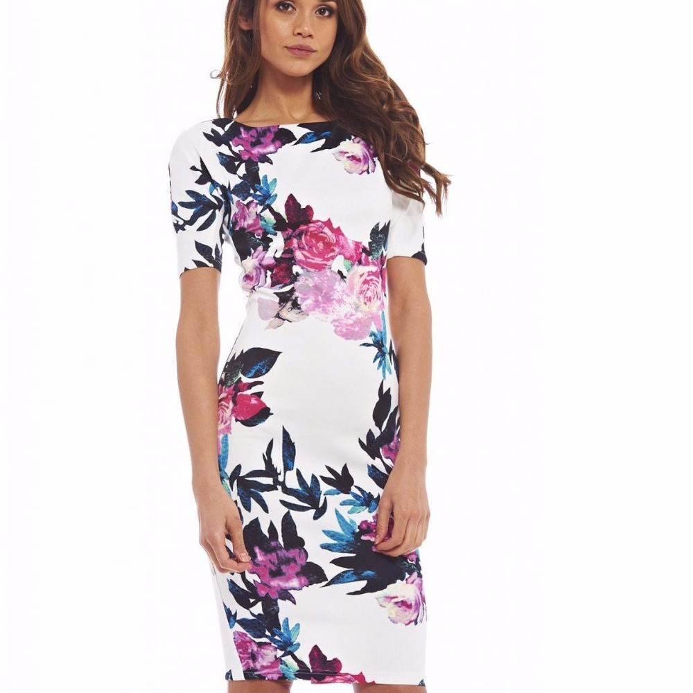 Plus Size Fashion Women Dress 29 Styles Floral Print O-Neck Work Business Casual Dresses Sheath Vestidos 106 short dresses office wear