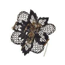 fashion lychee Retro Steampunk Gears Wrist Cuff Bracelet Victorian Black Lace Charm Costume Accessory Gothic Jewelry