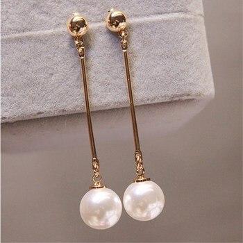 Long Tassel Simulated Pearl Drop Earrings for Women Gift Bijoux Korean jewelry OL Gold Color Pendientes boucle d'oreille 2