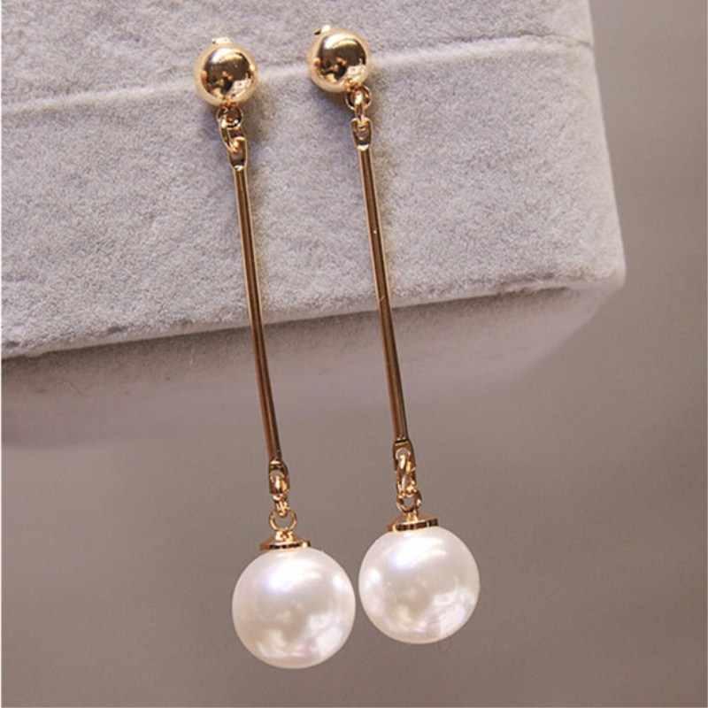 Lange Quaste Simulierte Perle Ohrringe für Frauen Geschenk Bijoux Korean schmuck OL Gold Farbe Pendientes boucle d'oreille