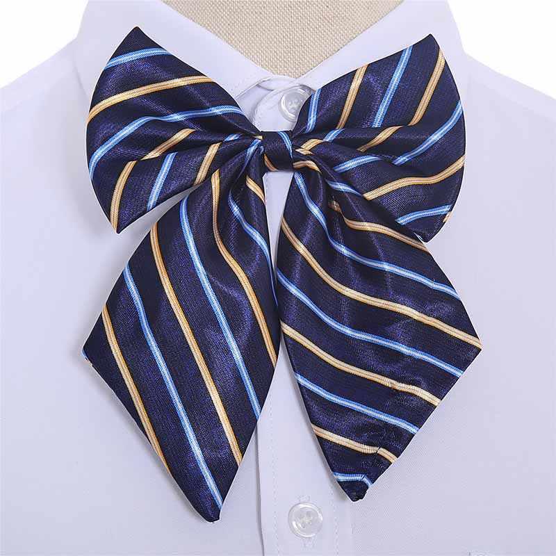 1PC chaud femmes filles soie nœuds papillon rayé hôtesse papillon nœuds papillon Cravat Vintage cou porter accessoires