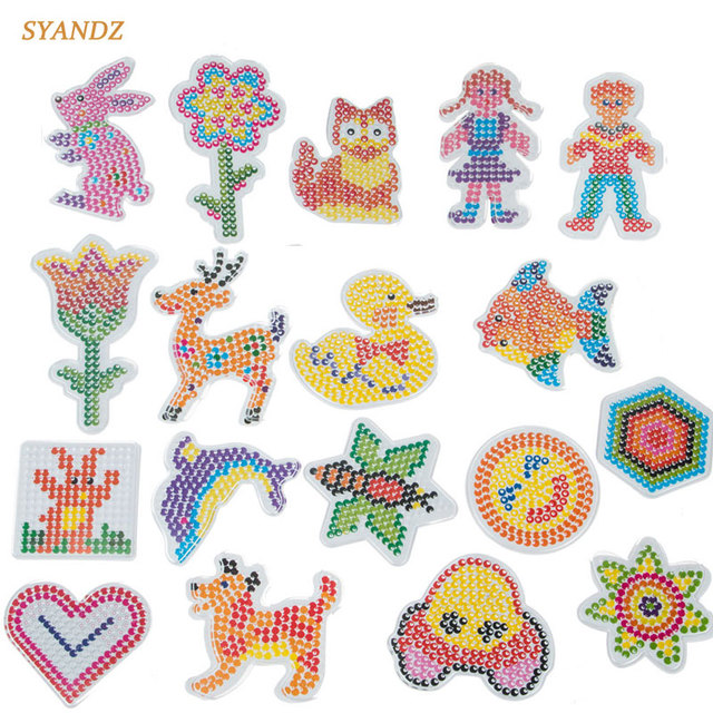 18pcsset 5mm hama beads template with colore paper plastic stencil jigsaw perler beads diy
