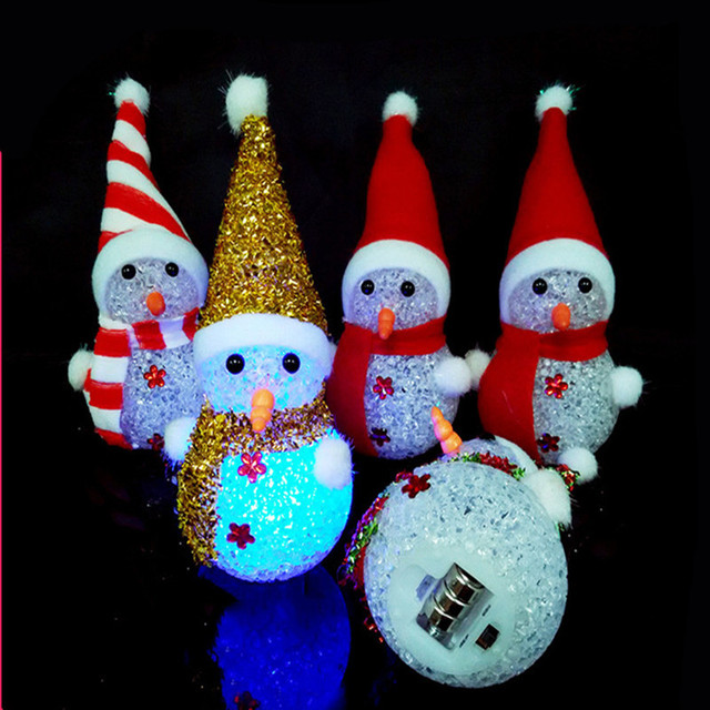 2017 santa claus xmas tree hanging lighted luminous snowman deer christmas decoration home new year noel