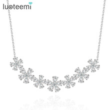 LUOTEEMI Brand Wholesale Fashion Crystal CZ Princess Flower Choker Necklace Bridal Wedding Necklace Sexy Choker Necklace Jewelry