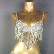 Costume de danse du ventre avec perles, vêtements Sexy, 4 couleurs, soutien gorge pour la danse du ventre, nouvelle, livraison gratuite, T201