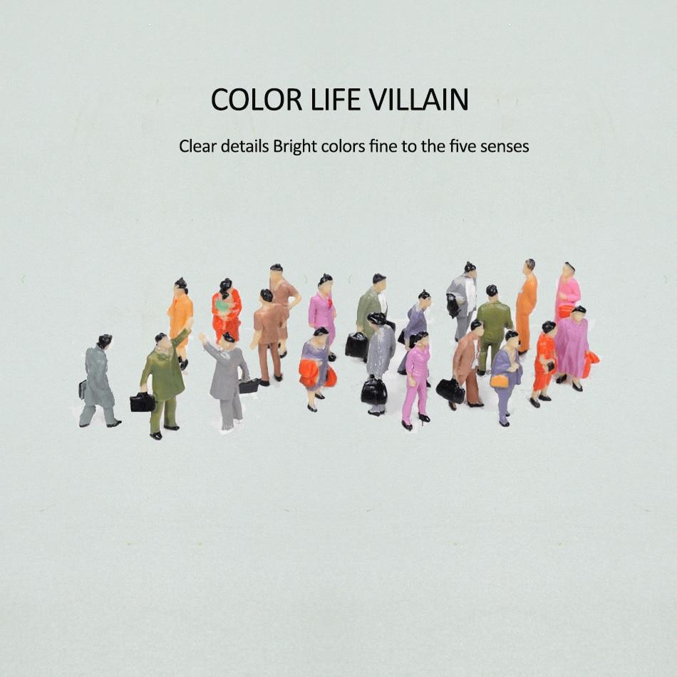 50 pces conjunto misto pintado modelo treina pessoas passageiros figuras ho escala 1: 87