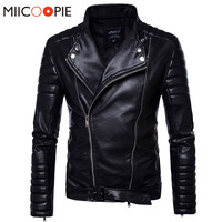 Spring Autumn Leather Jackets Men Solid Color Zipper Biker Motorcycle Leather Clothing Men's PU Casaco Masculino Jackets Coats