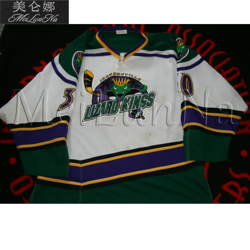 MeiLunNa Custom ECHL Jacksonville Lizard Kings Hockey Jerseys Home Road White Black Green Sewn On Any Name NO. Size phantom cam 0857