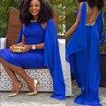 Estilo de Ankara de 2016 diamantes de color azul real sirena vestido de partido de tarde del vestido de las mujeres sin mangas del vestido de dubai RT7458