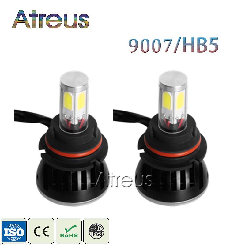 Atreus 1Pair 9007 HB5 LED Car Headlight 40W 4000LM Bulb Hi/Lo Plug & Play 4-Sides Beam Angle 360 Driving DRL Fog Lamp with Fan