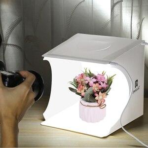 Image 4 - Mini Pieghevole Lightbox Fotografia Photo Studio Softbox 2 Pannello HA CONDOTTO LA Luce Soft Box Photo Sfondo Kit scatola di Luce per DSLR macchina fotografica
