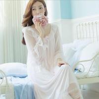 New Princess Nightdress Women's White pink Long Pyjamas Thin Material Nightgown Autumn Sleepwear Ladies negligee T345