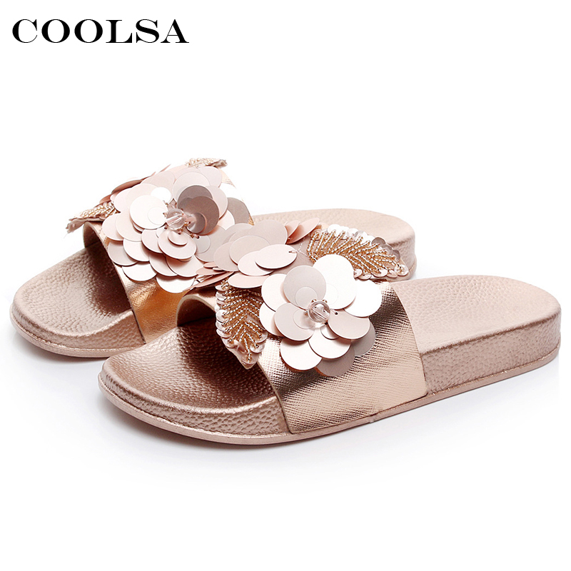 Coolsa Summer Women Beach Slippers Flowers Bling Pearl Sandals Flat Non Slip Ladies Sequins Slides Home Flip flops Casual Shoes coolsa new summer women bling slippers sparkling flip flop eva flat non slip slides home slipper lady casual beach sandals shoes