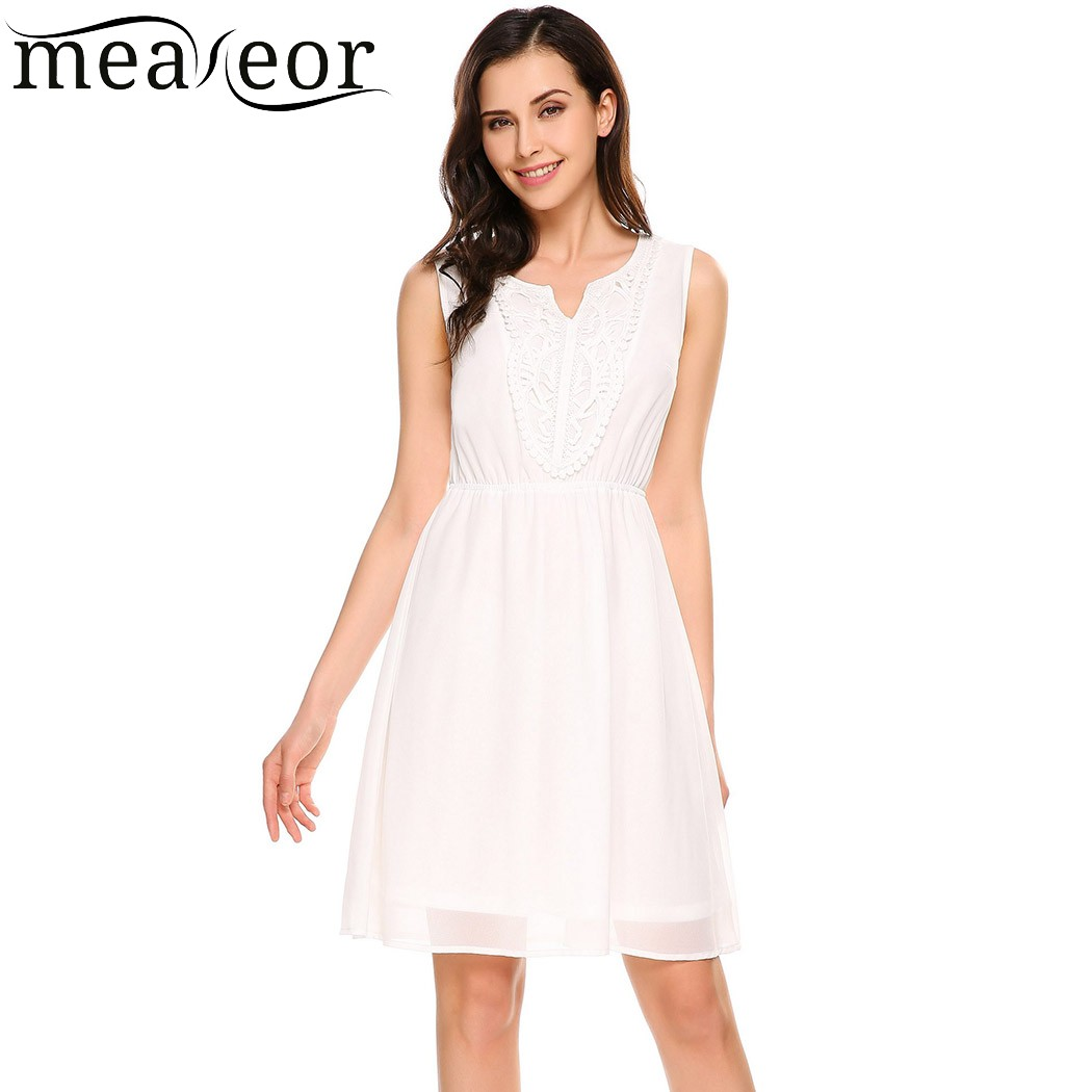 Meaneor Women Casual Chiffon Mini Dress V-Neck Sleeveless Elastic Waist Floral Pullover Appliques Dresses Feminino Vestidos