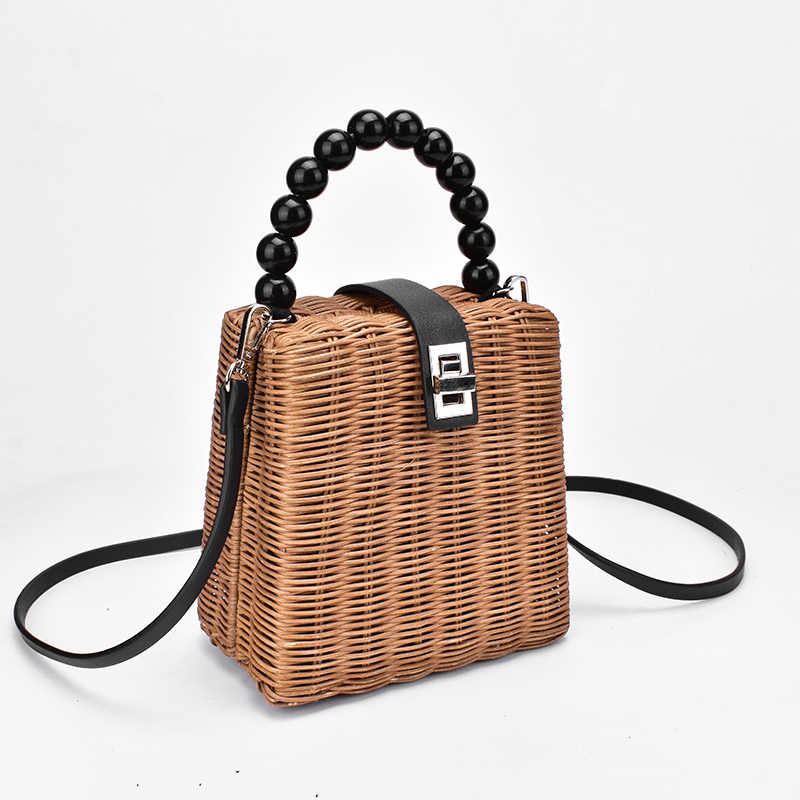 defc9b923ea1 2019 брендовая дизайнерская бусина ручной работы Соломенная Сумка Женская  сумка-тоут для лета ручка для