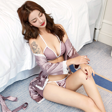 2019sexy nightgown satin underwear female cardinal sexy intimate wear summer lingerie night nightdress woman erotic clothing set