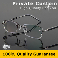 High Clear Optical Eyeglasses Man Glasses Frames Luxury Diamante Business Style Rimless Reading Glasses Match Myopia