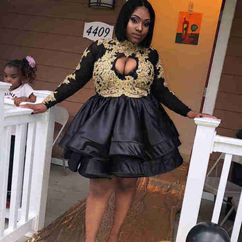 New Arrival High Neck Long Sleeve African Short Prom Dresses 2019 Gold Applique Black Satin Girl Party Gowns Homecoming Dresses