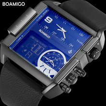 hot deal buy boamigo brand men sports watches 3 time zone dual display watches leather rectangle quartz wristwatch 30m water resistant clock