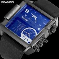 BOAMIGO Brand Men Sports Watches 3 Time Zone Big Man Fashion Watch Leather Rectangle Quartz Wristwatches
