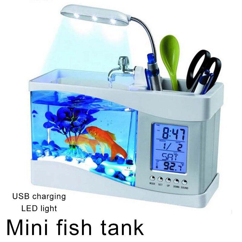 Petit Aquarium Mini Aquarium Aquarium Aquarium bureau lumière LED réveil Durable poisson rouge bol lampe multifonction
