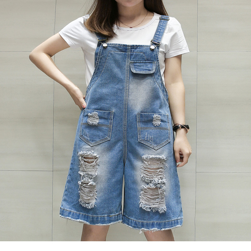 b2c7507480d XL-5XL Plus size Women s Jumpsuit Jeans Overalls Rompers Denim Overalls  short Women jeans Jumpsuits Overalls Shorts mori girl