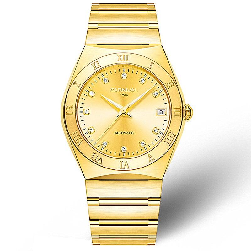где купить Carnival Brand Japan MIYOTA 21 Jewels Automatic Mechanical Watch Men Gold Full Steel Waterproof Mens Watches Clock reloj hombre по лучшей цене