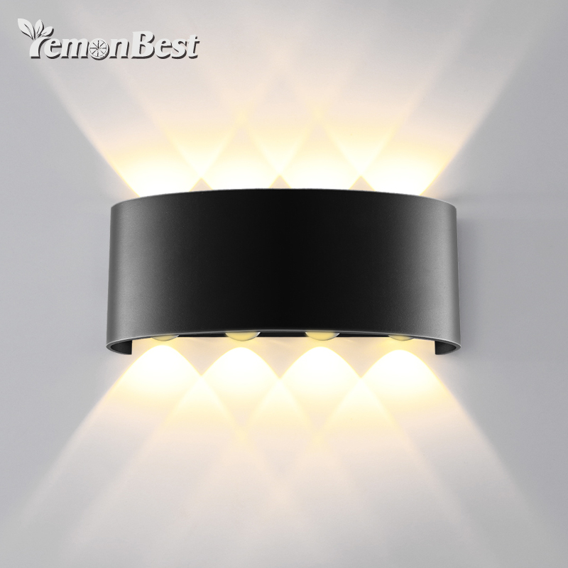 8W 8LED COB Modern Minimalist Double Head Lamp Up And Down Wall-Mounted Night Light Security Wall Lamp 85-265V ...