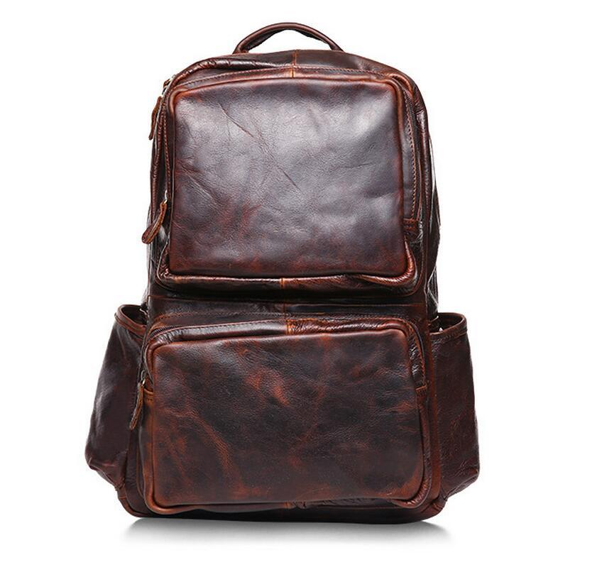 цены Luxury Brand Vintage 100% Genuine Cow Leather Mens Backpack Laptop School Rucksack for Travel Casual Mochila Masculina Chocolate