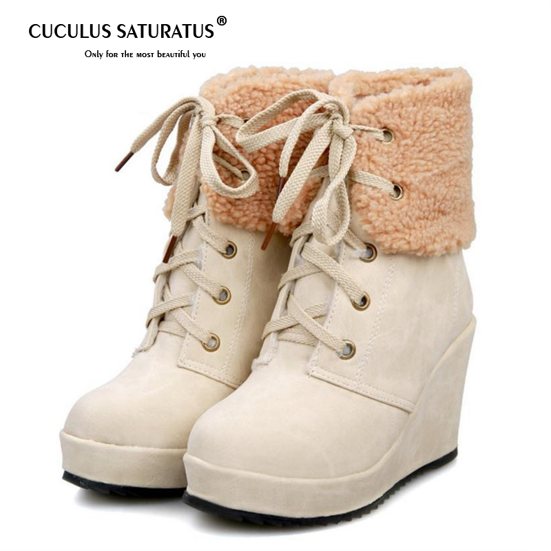 Cuculus Women Warm Wedge Boots Winter Plush Fur Shoes Woman Lace Up Ankle Boots Fashion Round Toe Platform Shoes Size 34-39 1149 cuculus 2018 women boots fashion pu leather round toe ankle boots sexy lace ladies high heels platform shoes woman 331