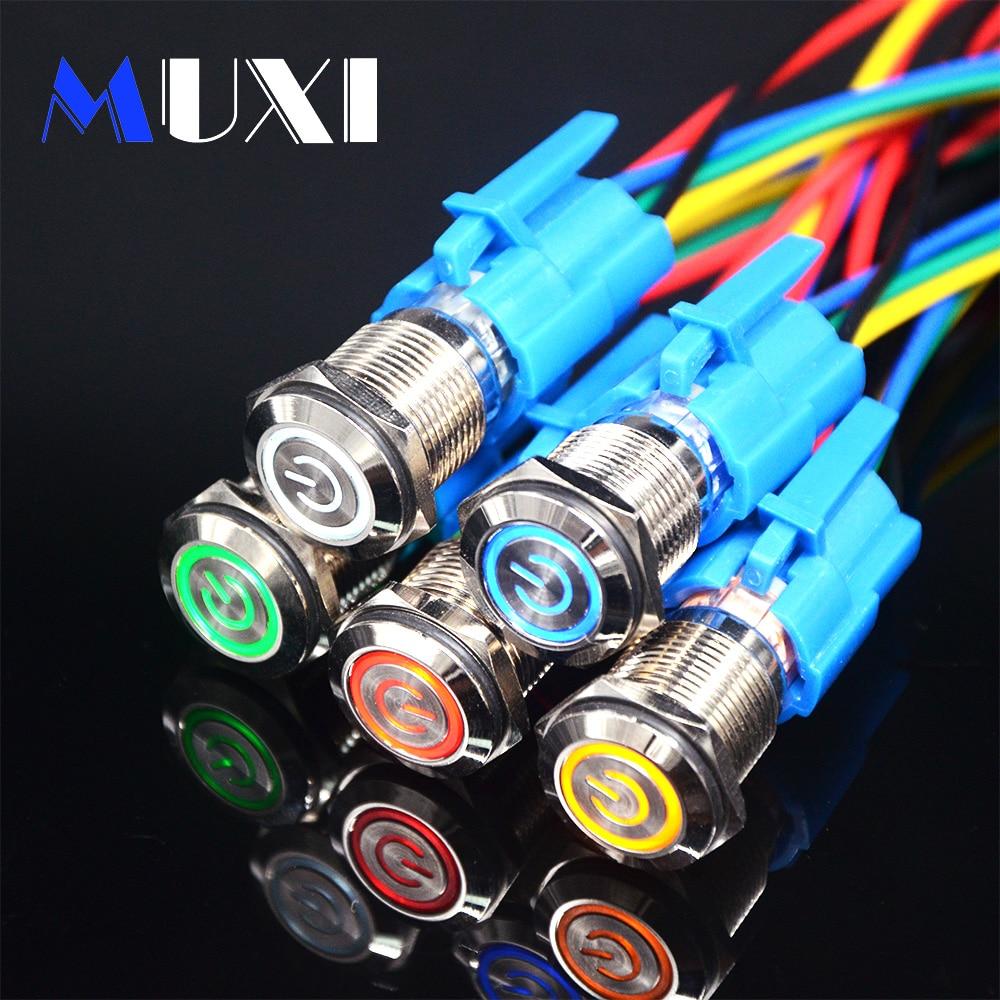 16mm Latching Waterproof Metal Push Button Switch LED Light 3V 5V 6V 12V 24V 36V 48V 110V 220VRed Blue Green Yellow White Button