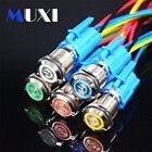 1Pcs Waterproof Metal Push Button Switch With LED light 3V 5V 6V 12V 24V 36V 48V 110V 220V RED BLUE GREEN YELLOW Self-locking
