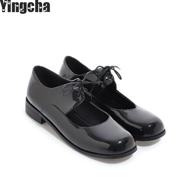High Quality Women Oxfords Flats Shoes Patent Leather Slip-on Pointed Creeper Black Brogue Loafers Brand high quality women oxfords low heel casual shoes patent leather tassel comfort slip on round toe creeper black loafers