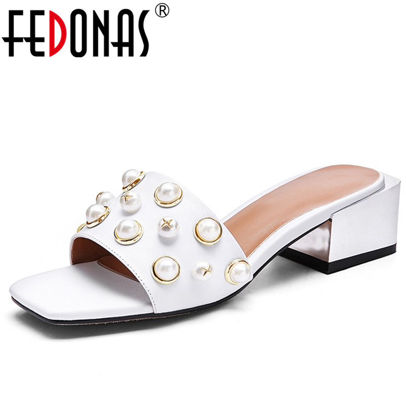FEDONAS New Women Sandals Summer Genuine Leather Fashion Flip Flops Beading Slipper High Heeled Shoes Bohemia Women Shoes Woman plus size34 43 2016 new fashion women slides black flip flops shoes wedges pumps beading casual women s slipper sandals ps2572