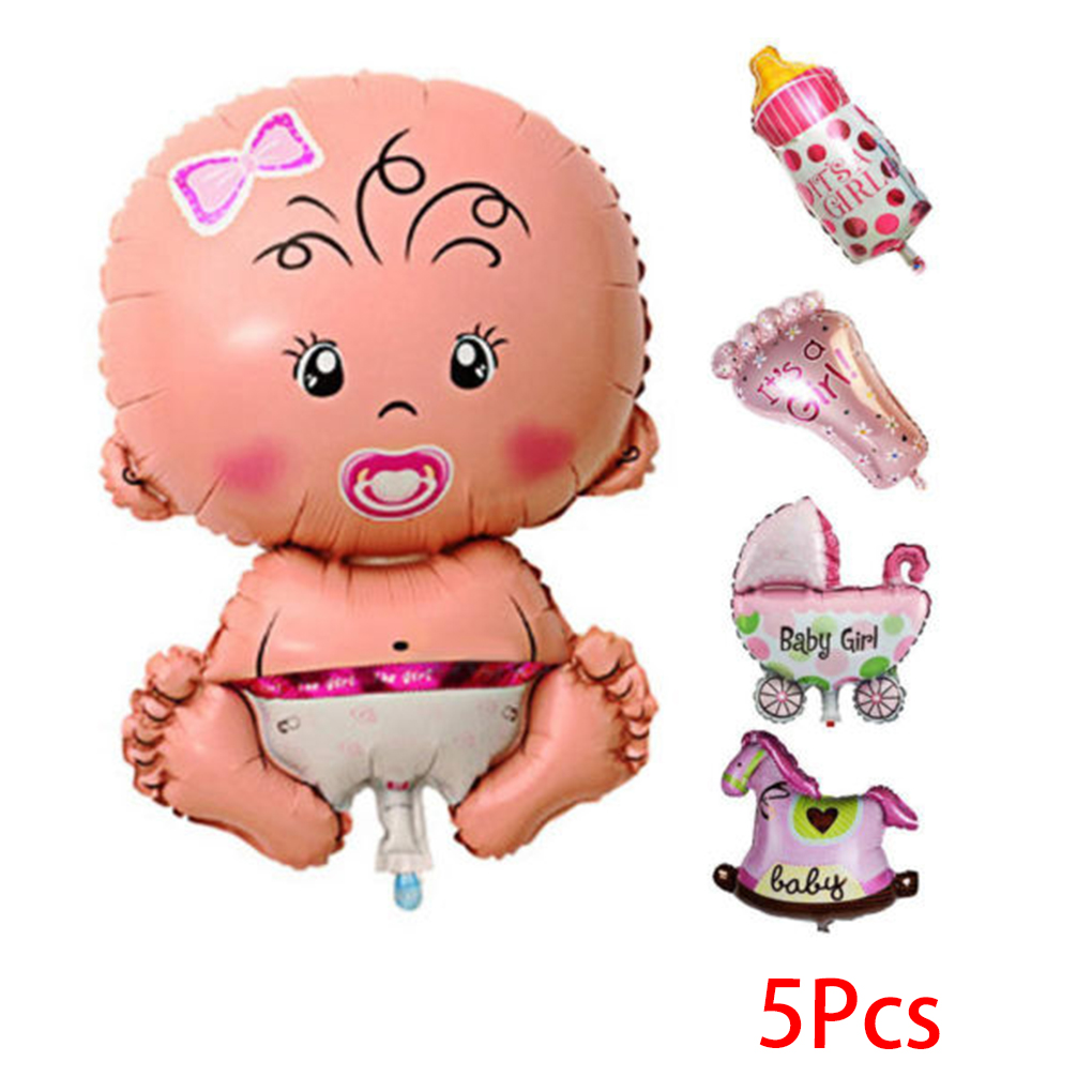 5PCS/Set Baby Cartoon Shower Balloons Inflatable Foil Decoration Boy Girl Birthday Party Toys