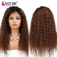 Ombre Lace Front Wig Kinky Curly Wig Pre Plucked Brazilian Lace Front Human Hair Wigs Remy Hair Wigs for Black Women Customized