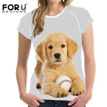 FORUDESIGNS Golden Retriever Female Fashion Shirt Ladies T-shirts Summer Women Casual Tshirt 3D Printed Short Sleeved Tops