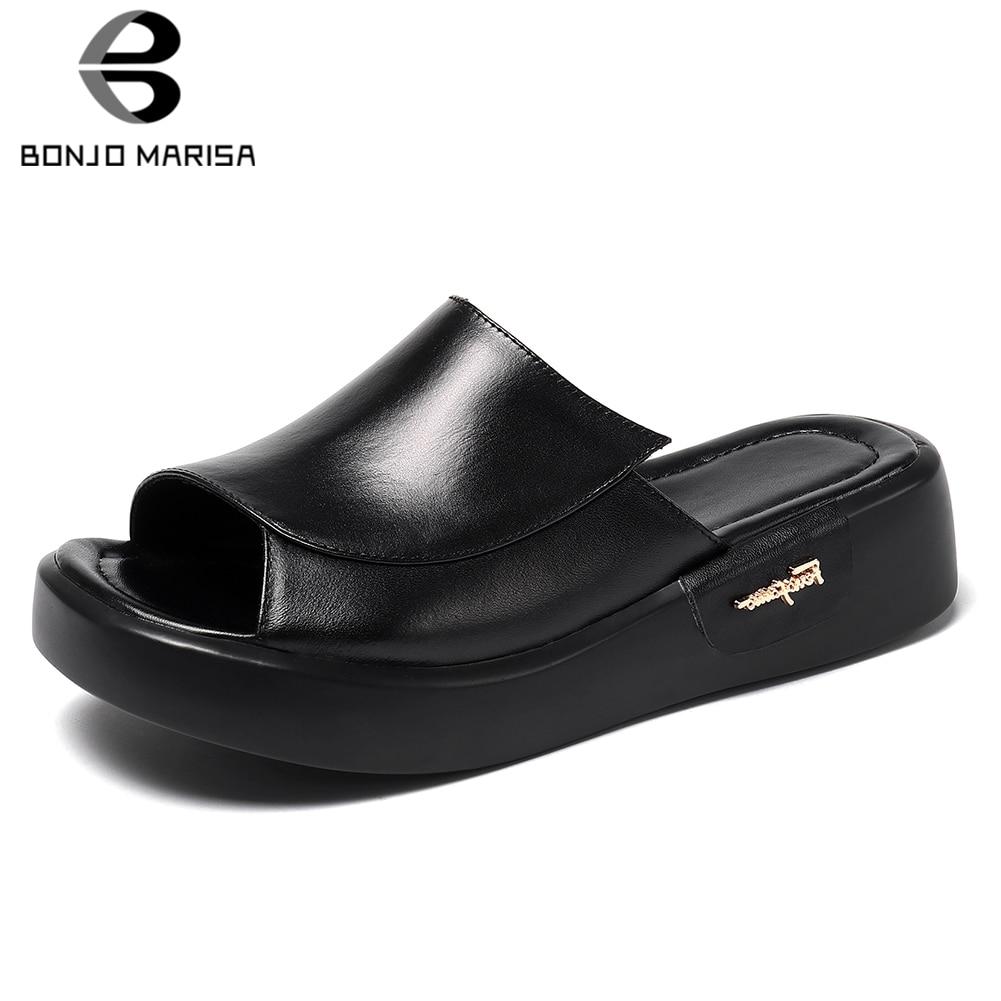 BONJOMARISA INS chaud mignon en cuir véritable chaussures pantoufles femme été plate-forme talons épais pantoufles femme chaussures femmes taille 34-44