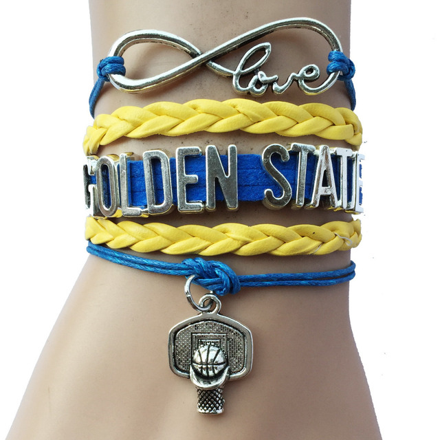 Infinity Love Golden State Basketball Bracelets Charm Leather Braid Sports Fans Friendship Gift