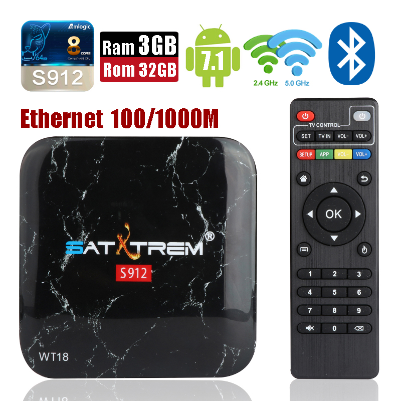 SatXtrem WT18 Amlogic 8-Core Ram 3GB Rom 32GB Android 7.1 Smart TV Box Dual Wifi Bluetooth 4.0 Set-top Box 3D 4K HD Media Player 2gb ram 32gb rom android 6 0 tv box amlogic s912 octa core tx8 metal case smart 4k 3d media player dual wifi bluetooth vs mi box