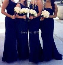 Navy Blue Bridesmaid Dress Chiffon Floor Length One Strap Long Bridesmaid Dresses Women Free Shipping