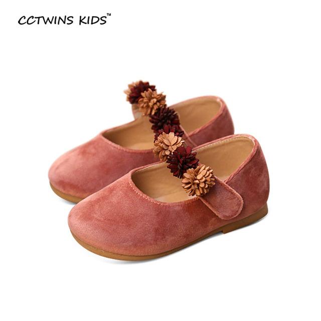 CCTWINS CRIANÇAS primavera outono moda mary jane rosa crianças flor pu sapatos de couro da marca princesa para o bebé kid dança flats